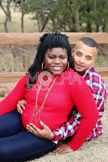 Pregnant African American Couple in Park