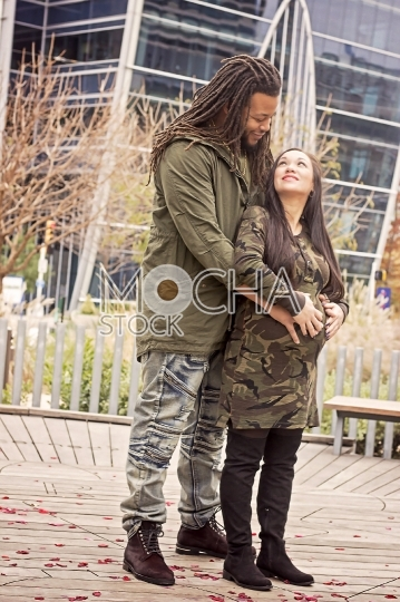 Pregnant Mixed Race Couple in Love
