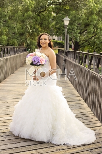 Beautiful African American Bride in Park