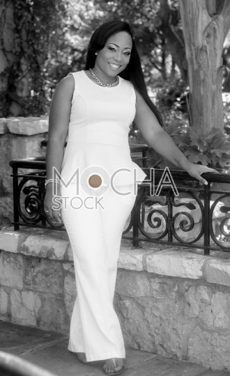 African American Business Woman Outdoors (Black and White)