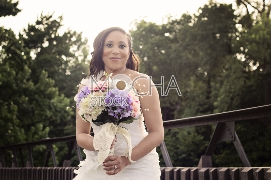 African American Bride with Bouquet