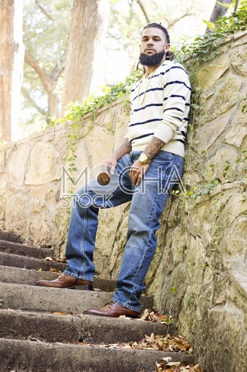 Handsome African American Man on Outdoor Staircase