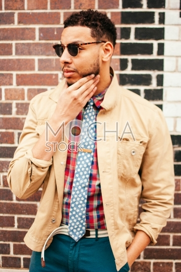Stylish African American Man in Sunglasses