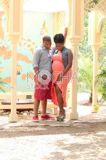 Pregnant African American Couple Outdoors