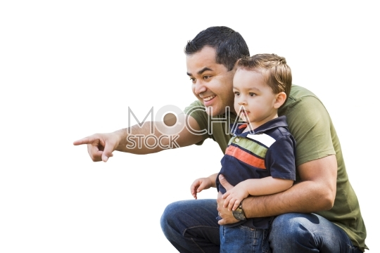 Hispanic Father Pointing With Mixed Race Son on White Background
