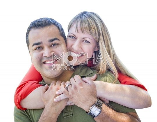 Attractive Mixed Race Couple on White Background
