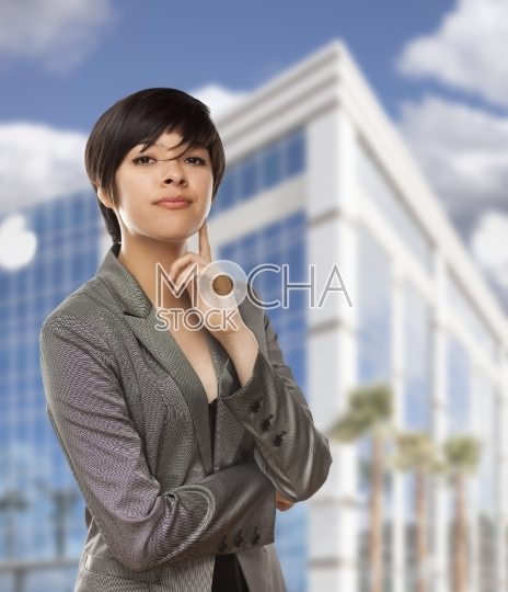 Mixed Race Young Adult in Front of Building