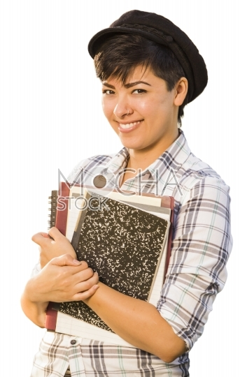 Portrait of Mixed Race Female Student Holding Books Isolated