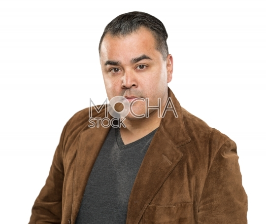 Handsome Young Hispanic Male Headshot Portrait Against White Bac