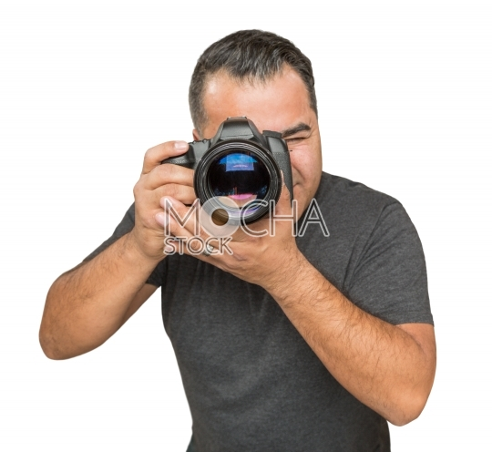 Handsome Hispanic Young Male With DSLR Camera Isolated on a Whit