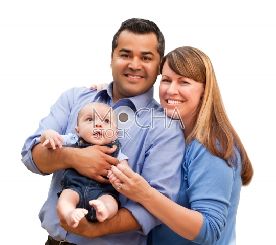 Happy Mixed Race Family Posing for A Portrait