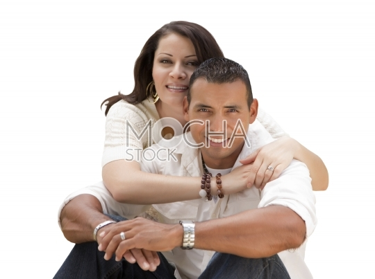 Happy Hispanic Young Couple Isolated on White
