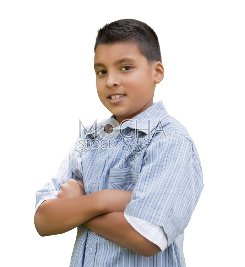Young Hispanic Boy on White