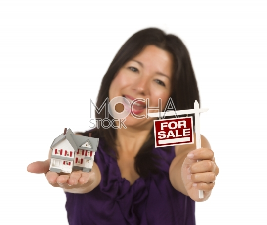 Multiethnic Woman Holding Small For Sale Real Estate Sign and Ho