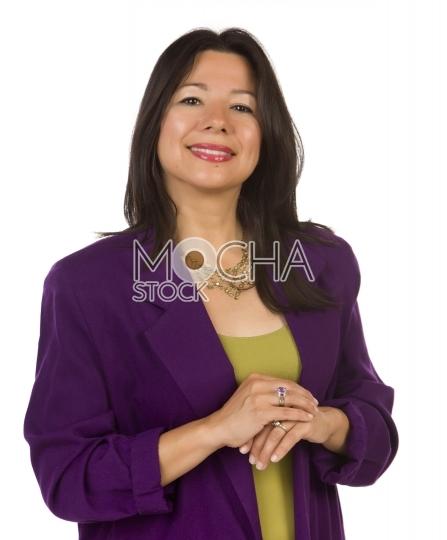 Attractive Multiethnic Woman on White