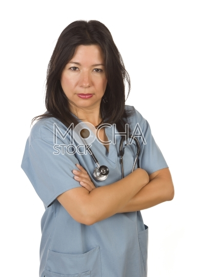 Serious Hispanic Doctor or Nurse on White