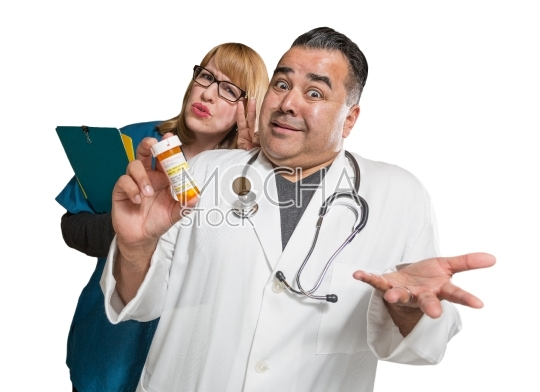 Goofy Doctor and Nurse with Prescription Bottle Isolated on a Wh