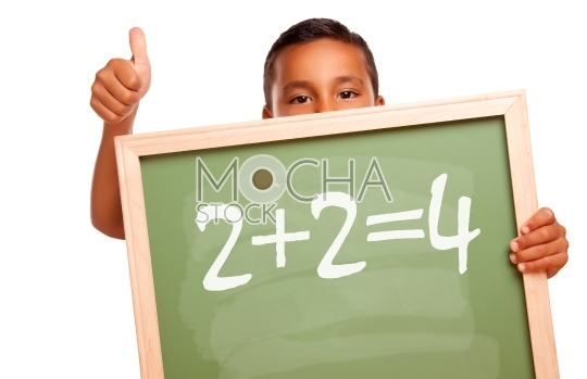 Proud Hispanic Boy Holding Chalkboard with Math Equation