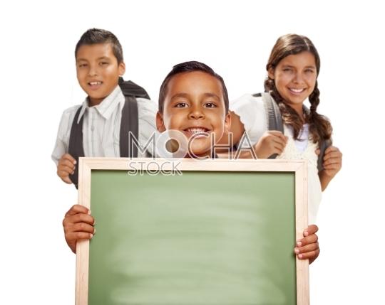 Hispanic Boys and Girl on White Holding Blank Chalk Board