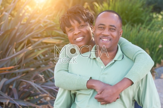 Attractive Happy African American Couple Portrait Outside