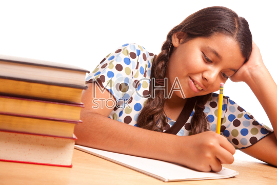 Pretty Hispanic Girl Studying