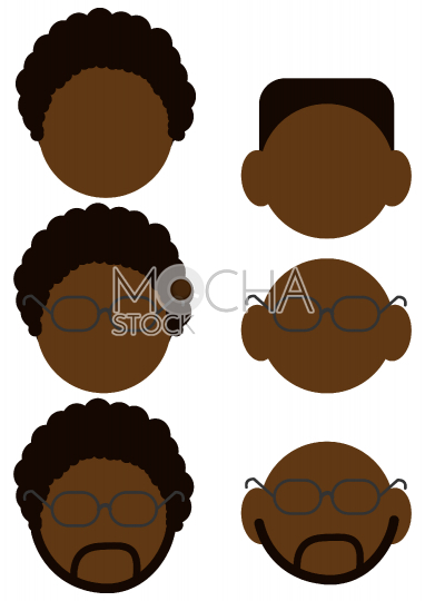 African American Male Head Avatars