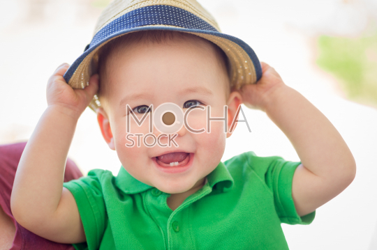 Portrait of A Happy Mixed Race Chinese and Caucasian Baby Boy We