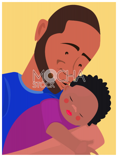 Father Kissing Sleeping Child