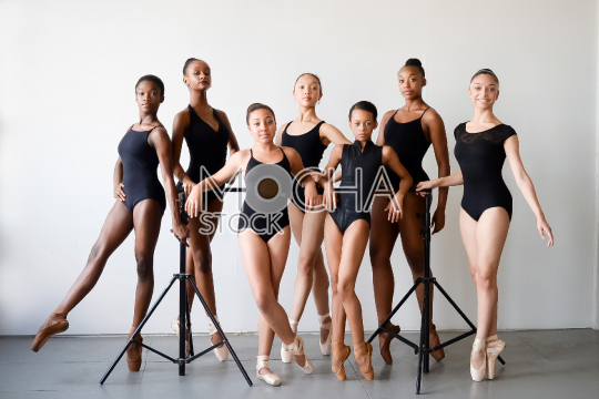Group of Young Ballet Dancers in Studio