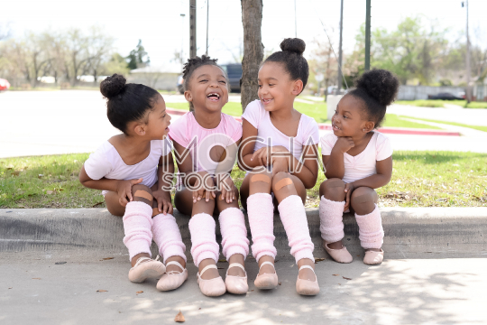 Four Little Ballerinas Having Fun