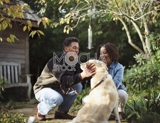 Happy mid-adult couple patting their dog in the back yard of their home