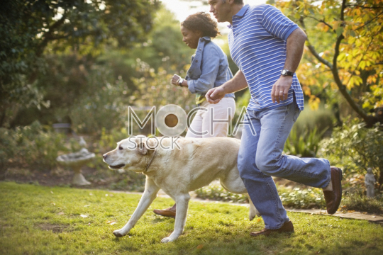 Young couple running alongside their dog in their back yard