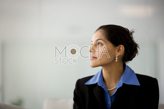 Mid-adult businesswoman sitting inside