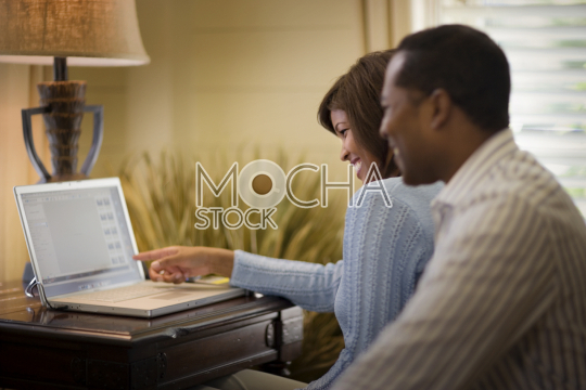 Happy mid-adult couple sitting together while using a laptop