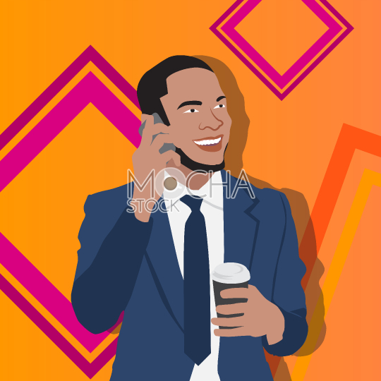 Business man on cell phone holds coffee cup