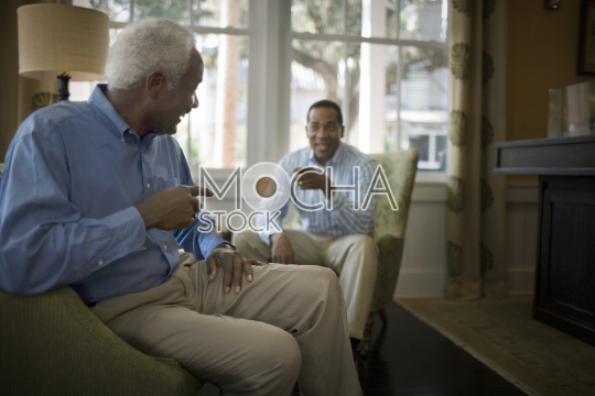 Mature adult man sitting in a living room with his mid-adult son as they point at each other